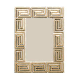 A Large Greek Key Painted Wood Mirror in Neutral Tan, Beige and Cream Color For Sale