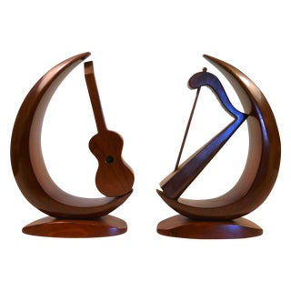 Mid-Century Carved Instrument Bookends - A Pair For Sale