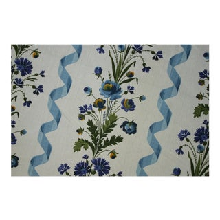 Antique French Blue Ribbon And Floral Boussac Curtain For Sale