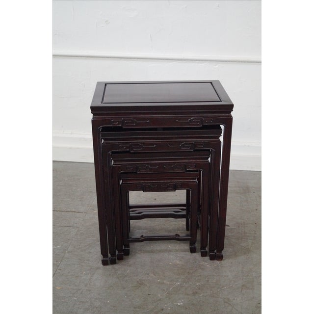 Chinese Rosewood Nesting Tables - Set of 4 For Sale In Philadelphia - Image 6 of 9