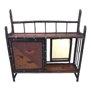 Antique Chinoiserie Bamboo Hanging Shelf Etagere For Sale