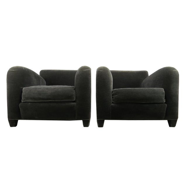 Wood 1980s Donghia Art Deco Style Gray Mohair & Down Club / Lounge Chairs - a Pair For Sale - Image 7 of 13