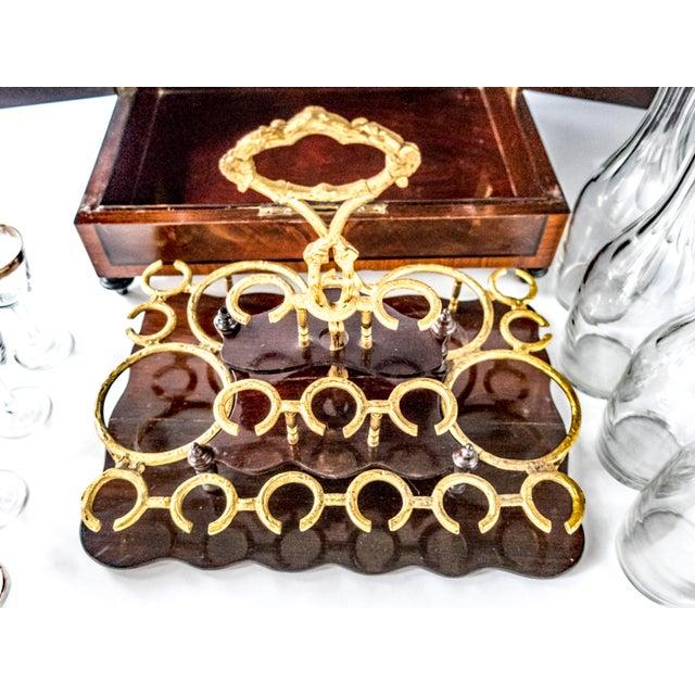 Antique French Tantalus Burlwood Hidden Liquor Cabinet & Glasses - Set of 8 For Sale - Image 4 of 12