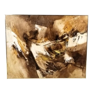 1960s Abstract Oil and Encaustic Painting on Board by Tx Modernist Walter McCown For Sale