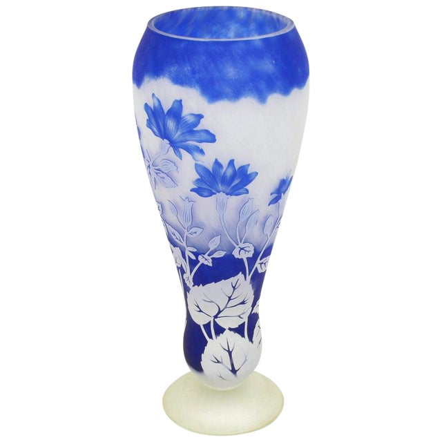 Shannon Crystal of Ireland Mouth Blown Blue Cut Art Glass Vase For Sale