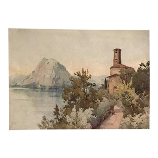 1905 Original Italian Print - Italian Travel Colour Plate - Monte San Salvatore, Lago DI Lugano For Sale