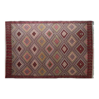 "Vintage Turkish Kilim Rug-6'2'x9'9"" For Sale"