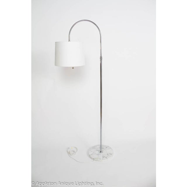 Mid-Century Modern Restored Mid Century Italian Chrome Arc Floor Lamp With Marble Base For Sale - Image 3 of 6
