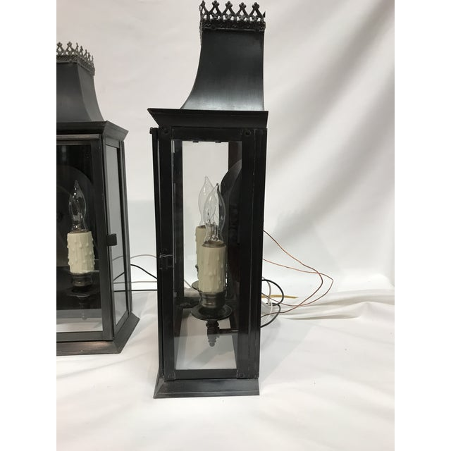 1960s 20th Century Regency Style Tole Lantern Wall Sconces Antiqued Brass - a Pair For Sale - Image 5 of 13