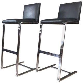 Pair of Vintage Gordon International 503 MV Chrome and Leather Barstools For Sale