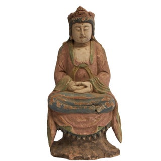 Antique Wooden Pastel Kwan Yin Bodhisattva Sculpture For Sale