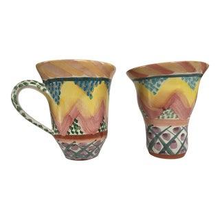 Vintage MacKenzie-Childs Hand Painted Keukenhof Pattern Pottery Mug & Tumbler - Set of 2 For Sale