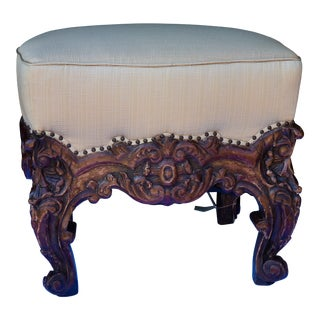 19th C. Italian Giltwood Bench, Newly Upholstered in Silk For Sale