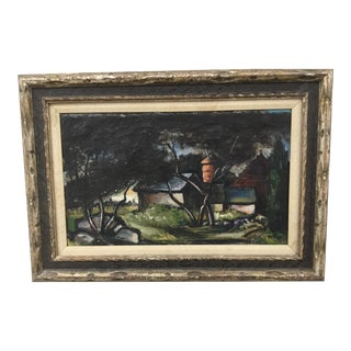 """1930s Vintage W. Killam """"Cloistered Silo"""" Oil on Canvas Painting For Sale"""