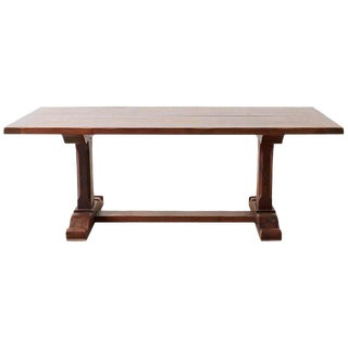 Italian Walnut Trestle Style Farm Dining Table For Sale