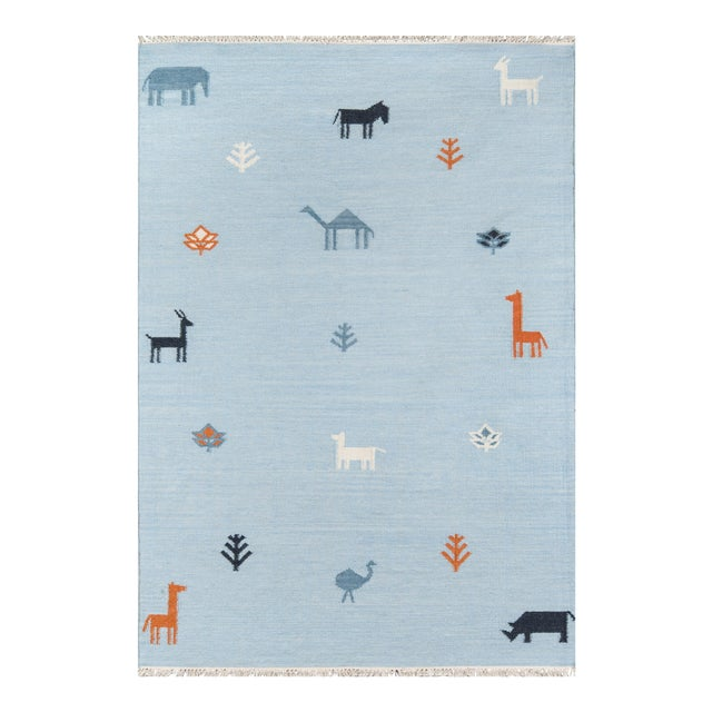 "Erin Gates by Momeni Thompson Porter Blue Hand Woven Wool Area Rug - 3'6"" X 5'6"" For Sale"