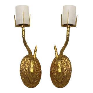 Petite Agostini Style Solid Bronze 24kt Dore Gold Organic Tree Branch Wall Sconces For Sale