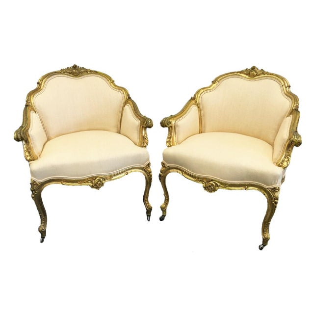 Gold Pair of 19th Century Louis XV Giltwood Bergères For Sale - Image 8 of 8
