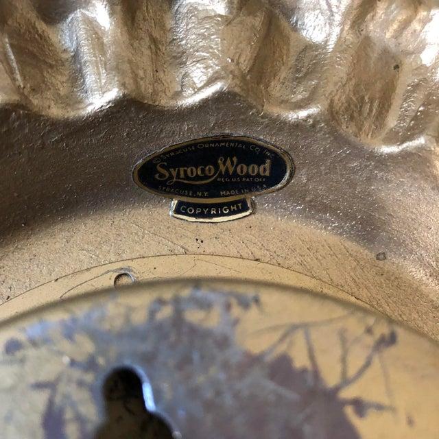 1960s Mid Century Syroco Sunburst Wall Clock For Sale - Image 5 of 6