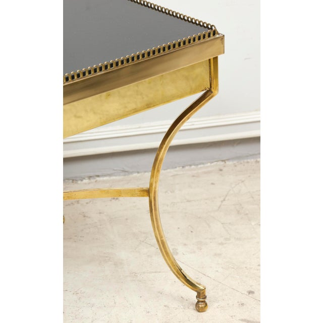 Traditional Brass Coffee Table with Smoked Glass and Galleried Top For Sale - Image 3 of 8