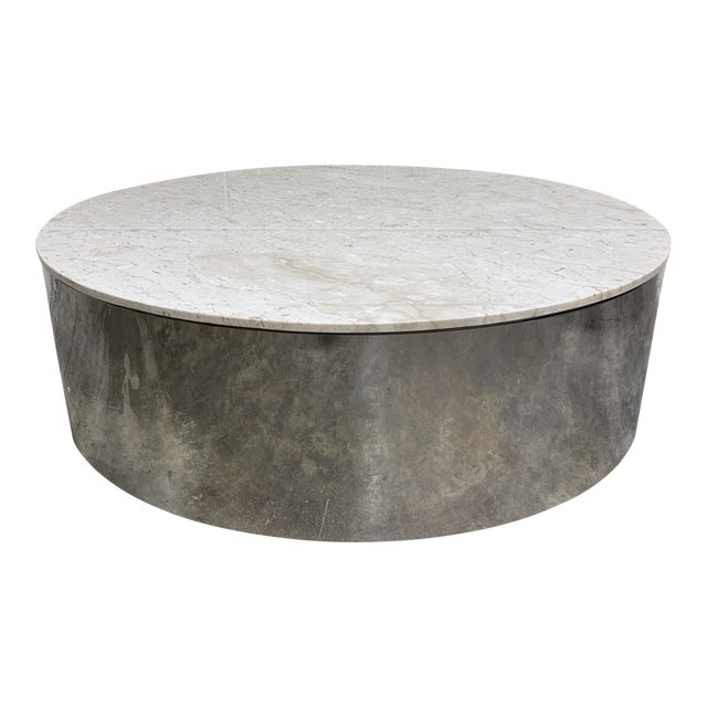 1970s Pace Carrara Marble & Chrome Drum Coffee Table For Sale
