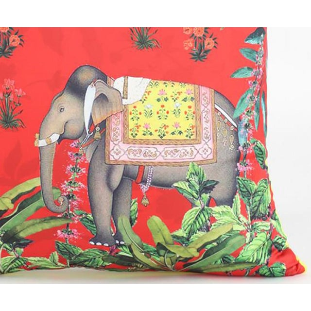 Red Boho Chic Elephant Silk Cushion Red Gray - a Pair For Sale - Image 8 of 9