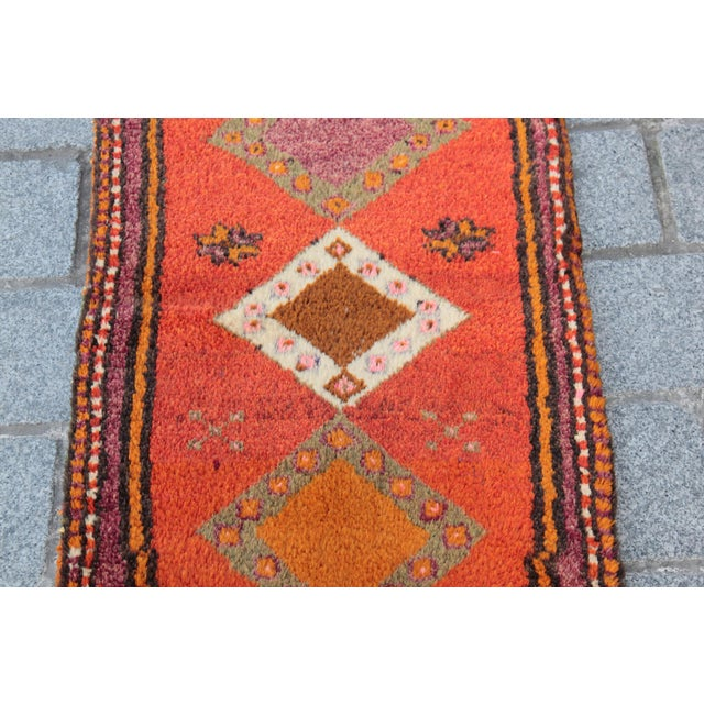 Vintage Turkish Orange Tone Wool Carpet - 3' 8'' X 1' 8'' - Image 4 of 11