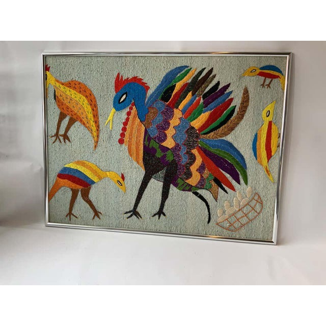 Mid-Century Modern Large Embroidered Turkey Wall Hanging For Sale - Image 3 of 8