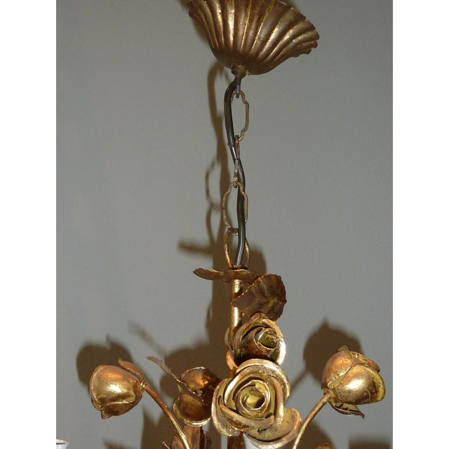 1960s Italian Gilded Rose Flower Chandelier - Image 6 of 8
