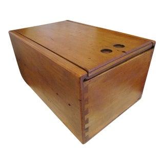 Antique 1800s New England Sliding Lid Maple Wood Box