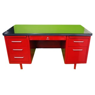 1950s Industrial Red Steel Tanker Desk For Sale