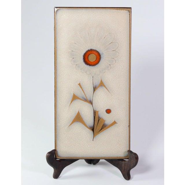 1950s Vintage Mid-Century Italian Glazed Floral Tiles - Set of 5 For Sale - Image 5 of 6