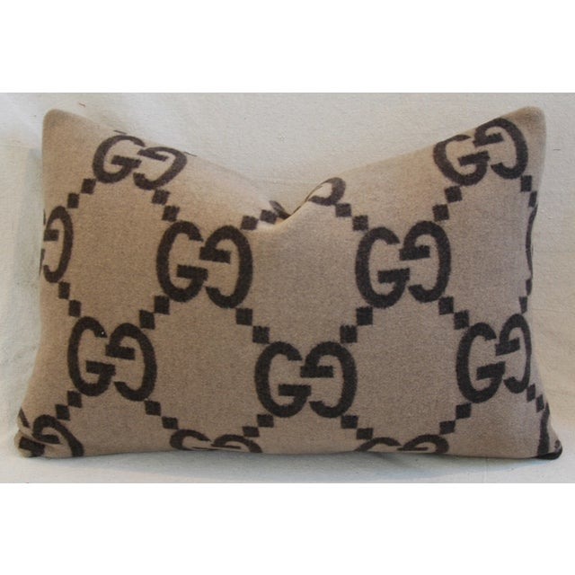 """23"""" X 16"""" Custom Tailored Gucci Cashmere & Velvet Feather/Down Pillows - Pair For Sale - Image 9 of 11"""