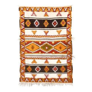 "Vintage Mid Century Moroccan Berber Rug - 4'5'' X 6'6"" For Sale"