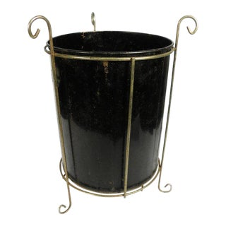 1960s Vintage Black Waste Basket / Umbrella Stand For Sale