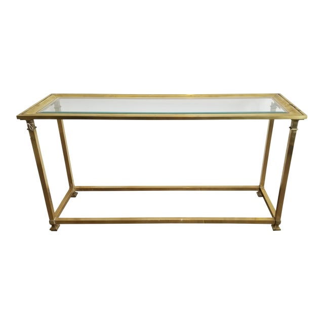 1970s Vintage Mastercraft Brass Console For Sale