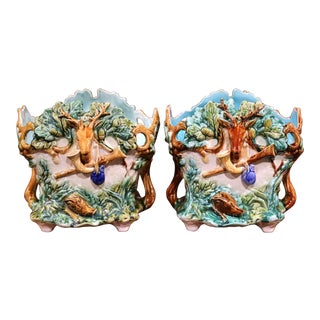19th Century French Barbotine Cachepots with Hunting Ornaments - A Pair For Sale