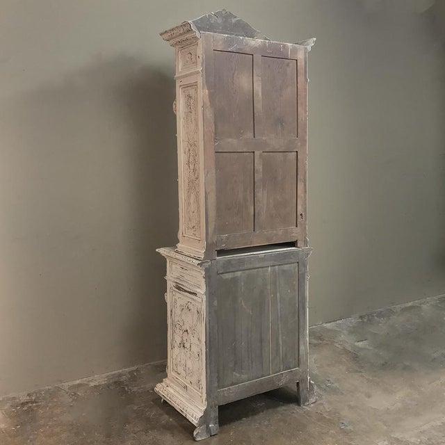 19th Century French Renaissance Painted Hunt Bookcase Buffet a Deux Corps For Sale - Image 11 of 12
