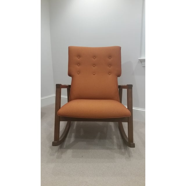 Design Within Reach DWR Jens Risom Burnt Orange Rocking Chair For Sale - Image 4 of 4