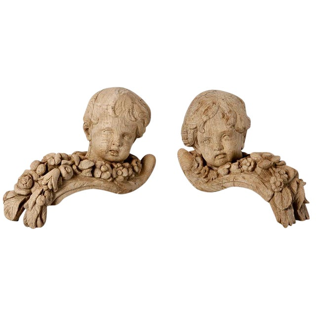 19th Century Bleached Oak Carved Cherubs - A Pair For Sale