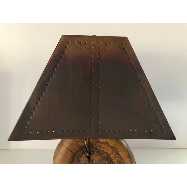 Contemporary 1970s Organic Burl Wood Lamp With Copper Shade For Sale - Image 3 of 11