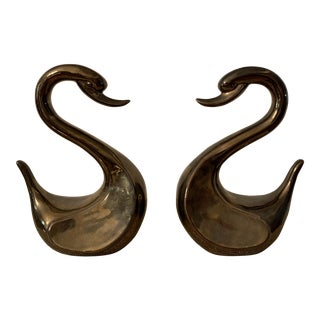 1986 Arnel's Swan Ceramic Pottery, Signed Arnel's - a Pair For Sale
