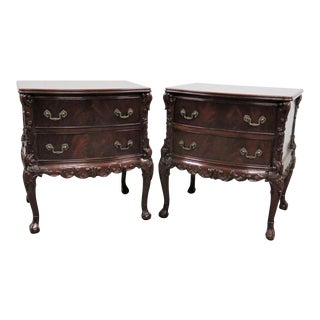Chippendale Carved Flame Mahogany Nightstands - a Pair