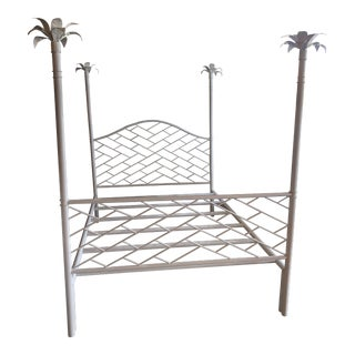 Vintage Chinese Chippendale Palm Tree Leaf Metal Four Poster Queen Full Size Bed For Sale
