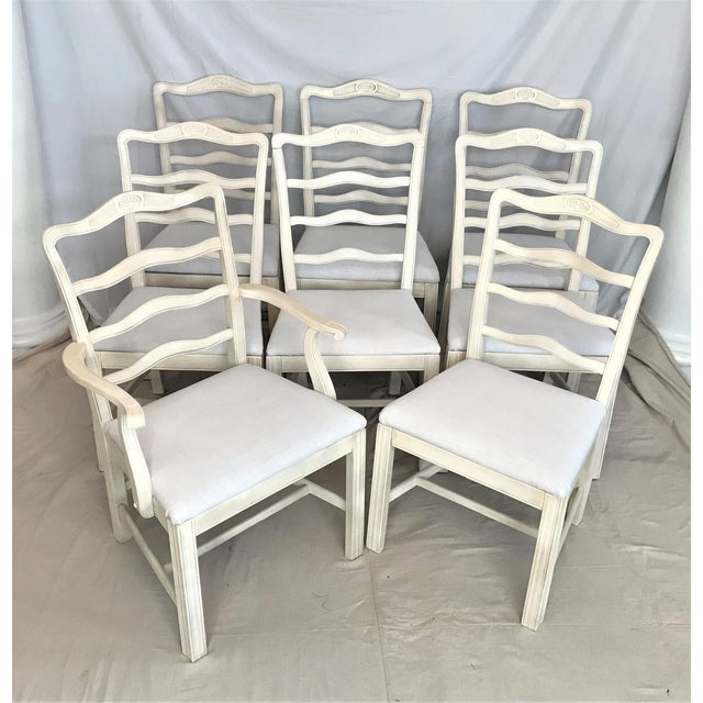 1920s Provençale Antique White Ladder Back Dining Chairs – Set of 8 For Sale - Image 9 of 9