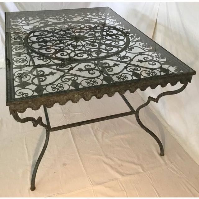 1940s French Provincial Iron Table With Glass Top For Sale - Image 11 of 13
