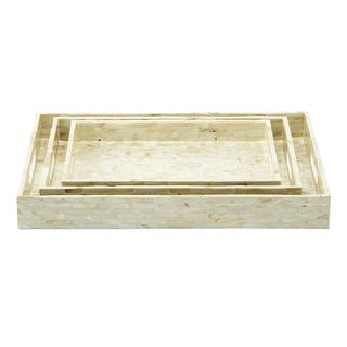 Mother of Pearl Tray Set - 3 Pieces For Sale