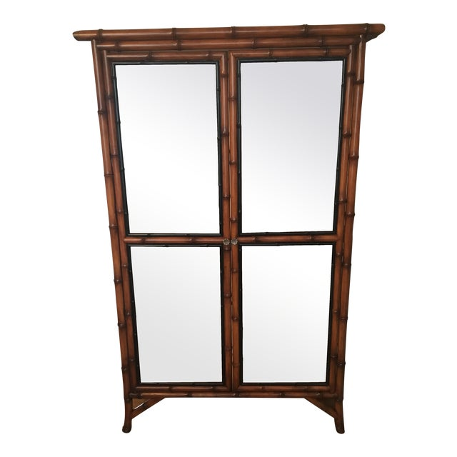 Chinoiserie Faux Bamboo China Cabinet - Image 1 of 6