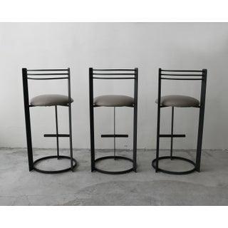 Set of 3 Post Modern Italian Memphis Milano Minimalist Style Bar Stools Preview