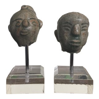 14th Century Sawankhalok Mounted Head Figurines - a Pair For Sale